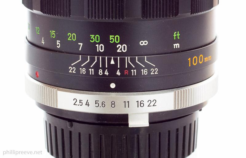 Minolta MC 2.5/100 Aperture Ring