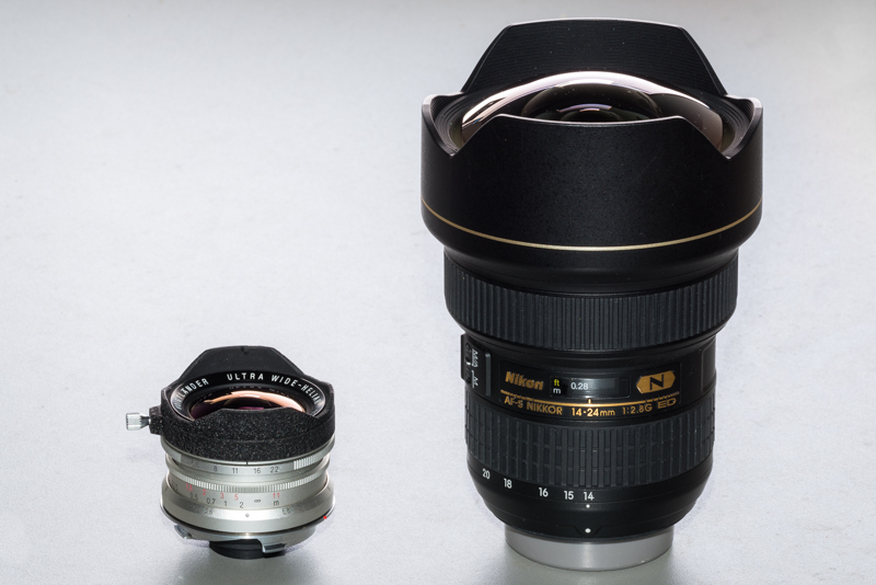 size comparison ultra wide heliar 12mm 5.6 nikon 14-24mm 2.8