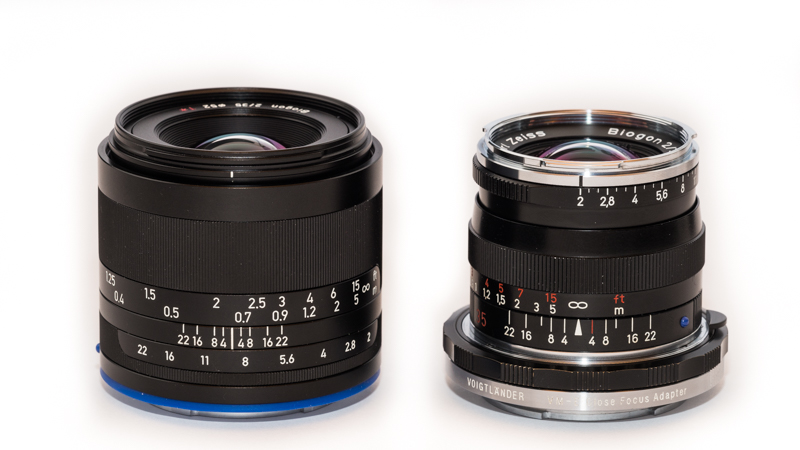 Zeiss Loxia 35mm 2.0 and Zeiss Biogon 35mm 2.0 ZM with Voigtländer Helicoid adapter