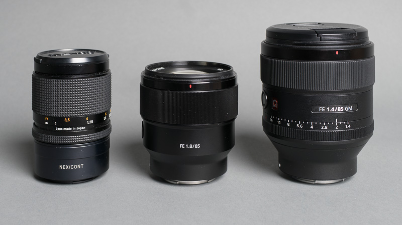 sony 85. size comparison between the contax 3.5/100, sony fe 1.8/85 and 1.4/85 gm 85