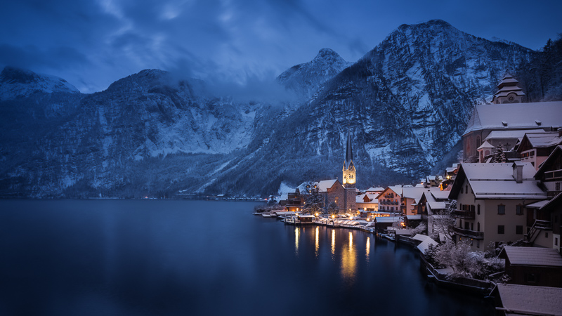 zeiss loxia 21mm 2.8 hallstatt hallstadt halstadt austria city snow snowy winter
