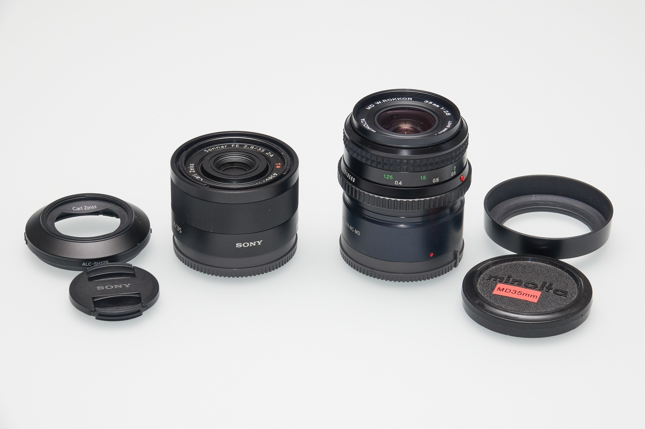 size comparison Sony Sonnar T* FE 35mm F2.8 ZA vs. Minolta MD W. Rokkor 35mm F2.8